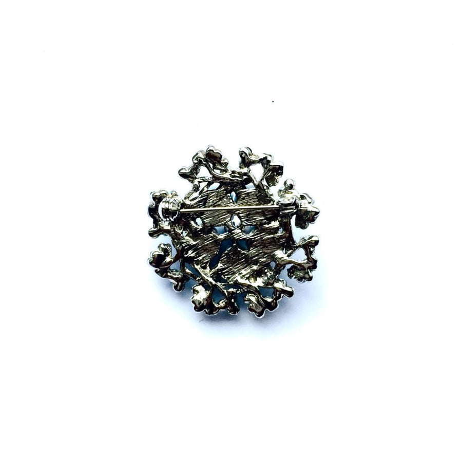 Vintage Round Blue Floral Brooch, Vintage, Putti Fine Furnishings