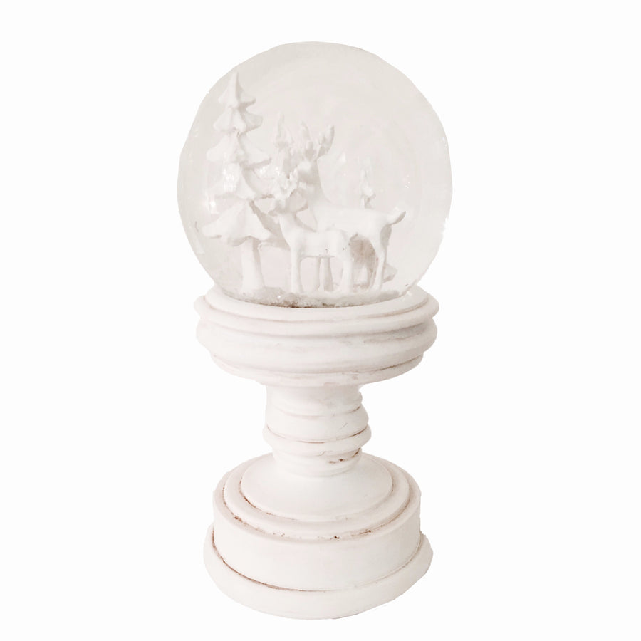 White Reindeer on Pedestal Snow Globe