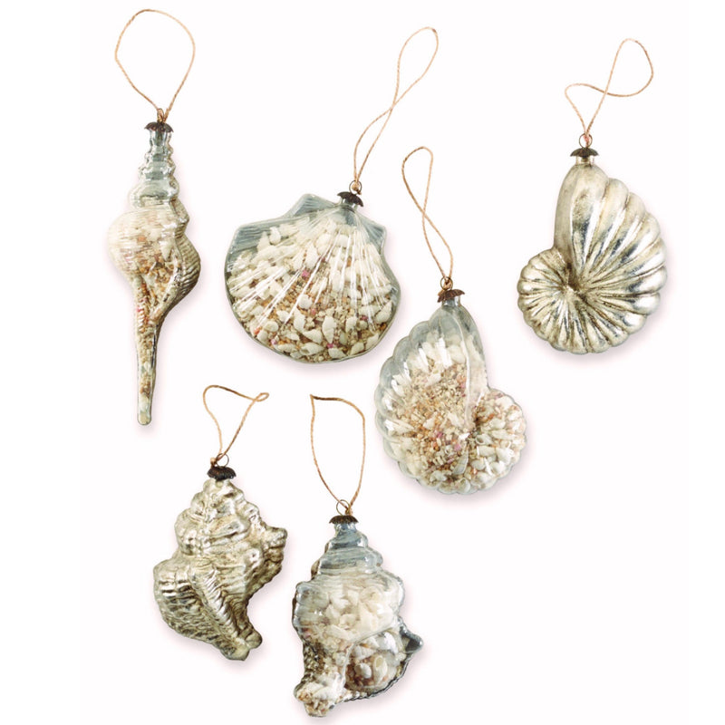 Mud Pie Shell Filled Glass Ornament, MP-Mud Pie, Putti Fine Furnishings