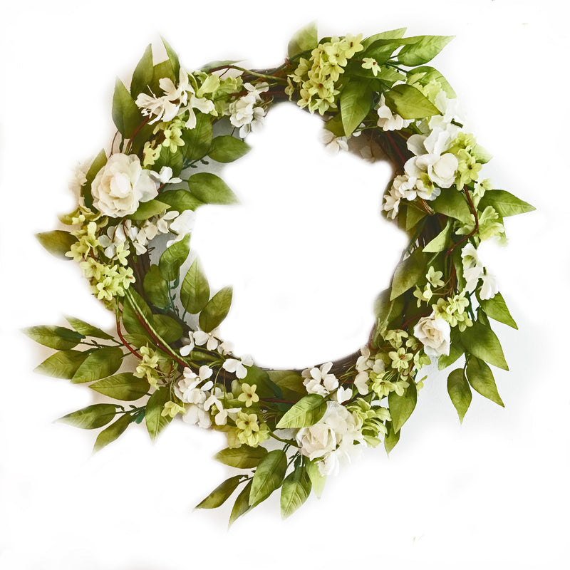 White Spring Floral Wreath, RT-Rosemary & Thyme, Putti Fine Furnishings