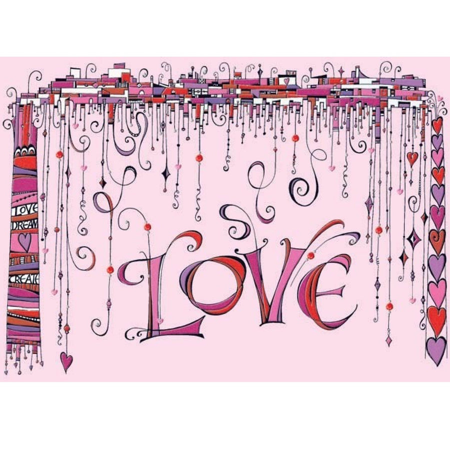 """Love"" Hanging Objects Valentine Card"