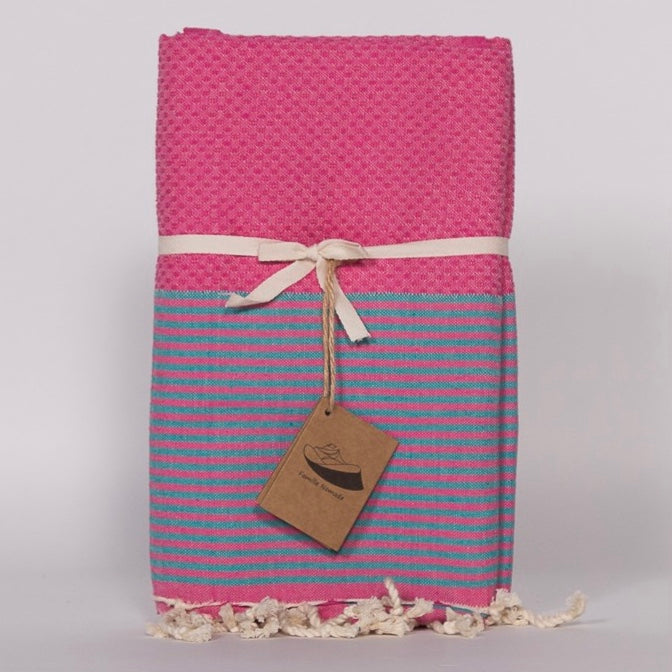 Thin Stripe Fouta Towel - Fuchsia & Aqua, FN-Famille Nomade, Putti Fine Furnishings