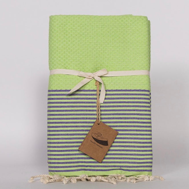 Thin Stripe Fouta Towel - Lime Green & Blue, FN-Famille Nomade, Putti Fine Furnishings