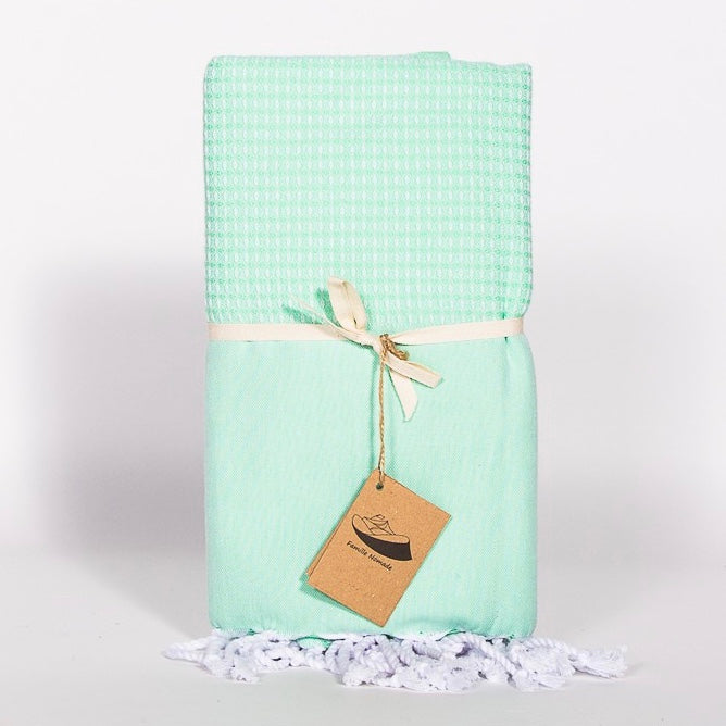 """Ibiza"" Jacquard Weave Fouta Towel - Mint, FN-Famille Nomade, Putti Fine Furnishings"