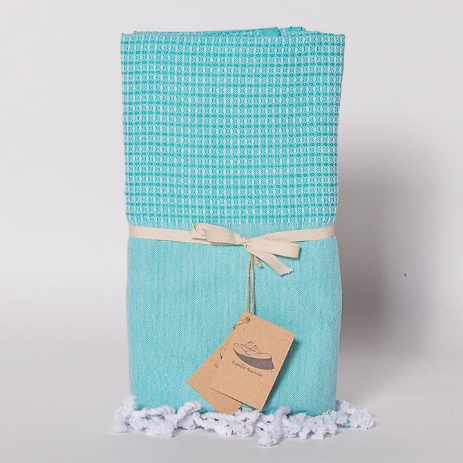 """Minorque"" Jacquard Weave Fouta Towel - Turquoise, FN-Famille Nomade, Putti Fine Furnishings"