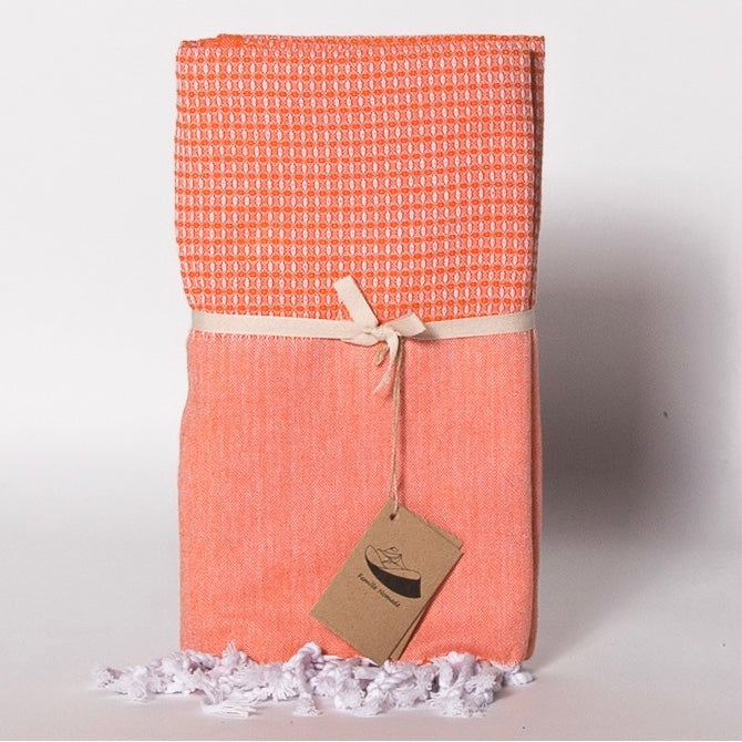 """Corfou"" Jacquard Weave Fouta Towel - Orange, FN-Famille Nomade, Putti Fine Furnishings"