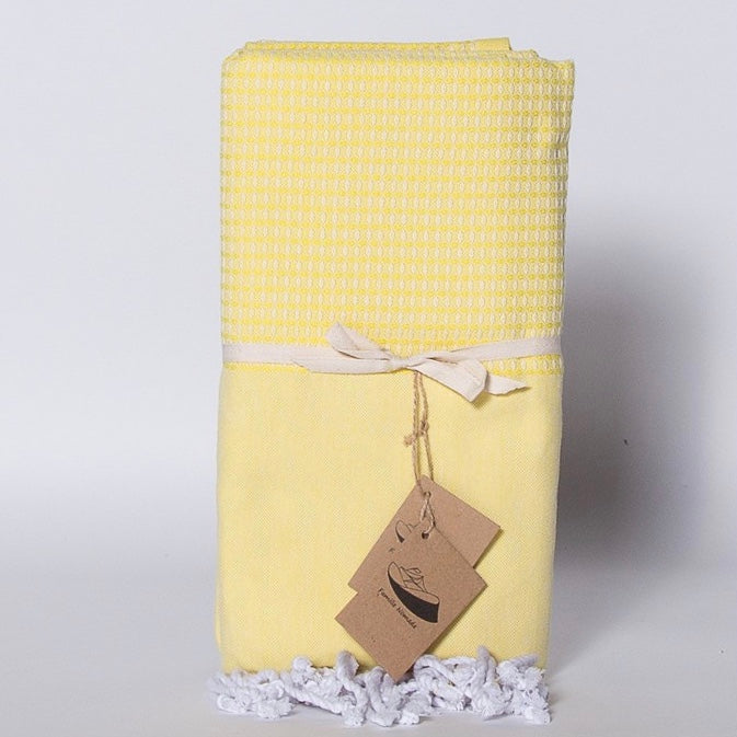 """Caprera"" Jacquard Weave Fouta Towel - Yellow, FN-Famille Nomade, Putti Fine Furnishings"