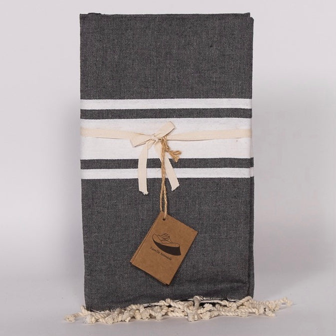 Flat Weave Stripe Fouta Towel - Charcoal with White Stripe, FN-Famille Nomade, Putti Fine Furnishings