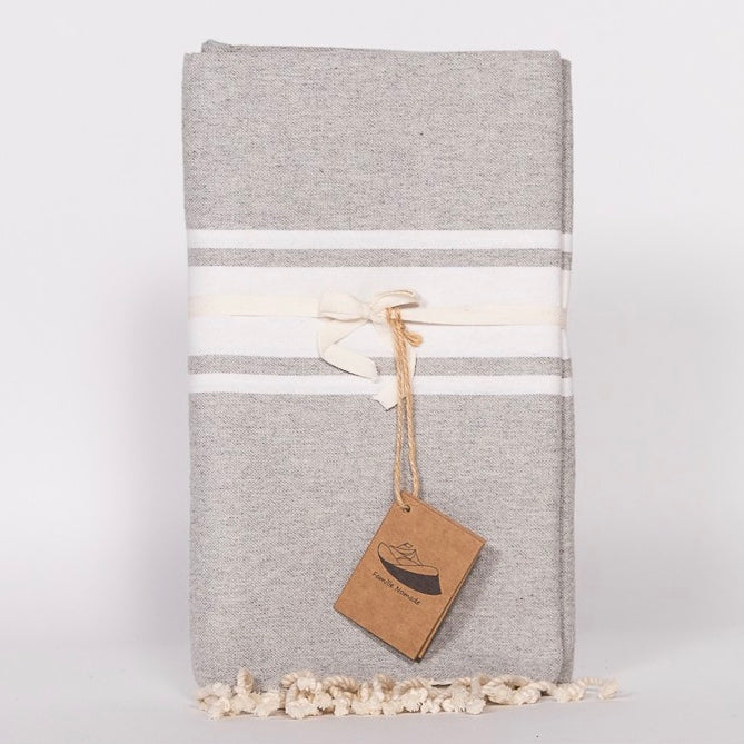Flat Weave Stripe Fouta Towel - Grey with Wide White Stripe, FN-Famille Nomade, Putti Fine Furnishings