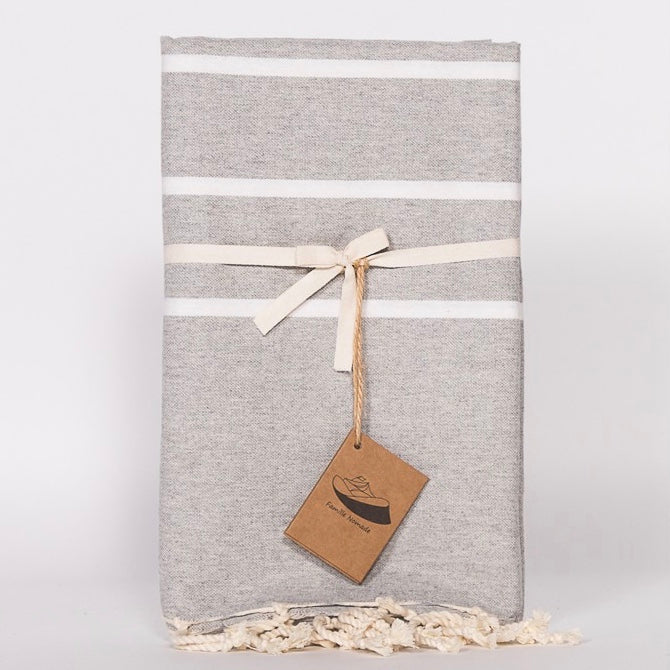 Flat Weave Stripe Fouta Towel - Grey with Narrow White Stripe, FN-Famille Nomade, Putti Fine Furnishings