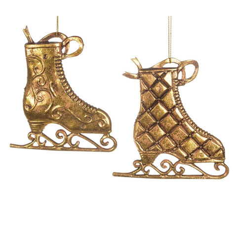 Antique Gold Skate Ornament