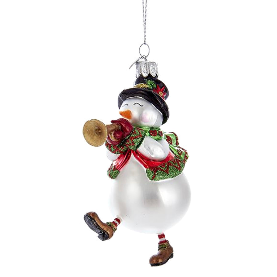 Kurt Adler Glass Snowman with Horn Ornament