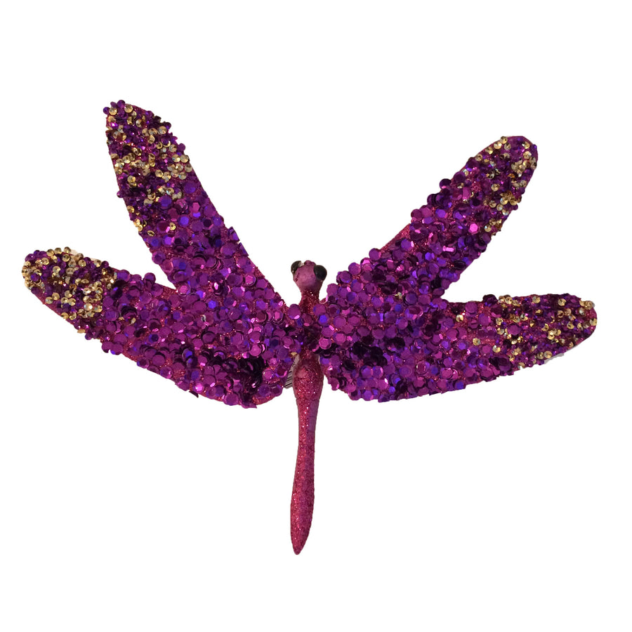 Purple Glitter Dragonfly, CT-Christmas Tradition, Putti Fine Furnishings