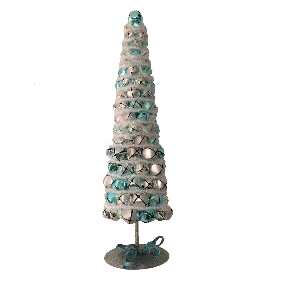 Topiary with Aqua and Silver Bells