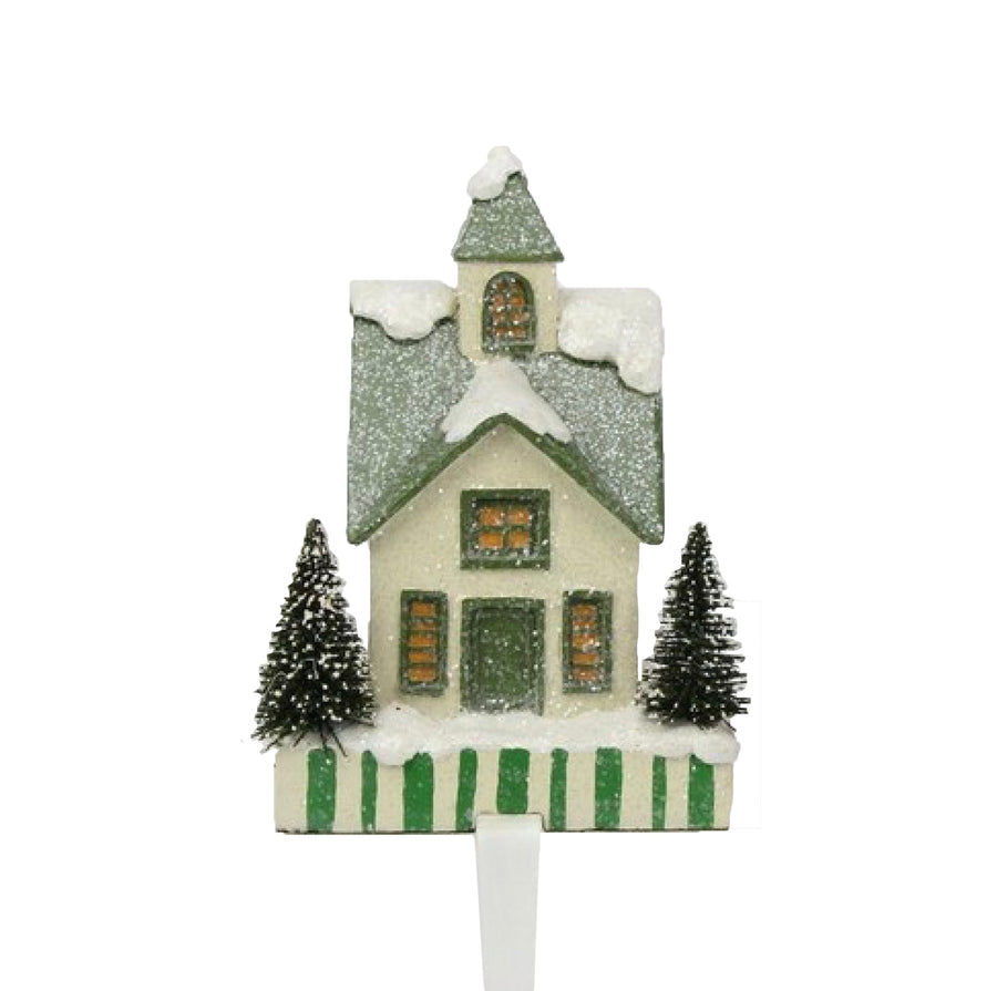 Snow Village Stocking Holder - Green