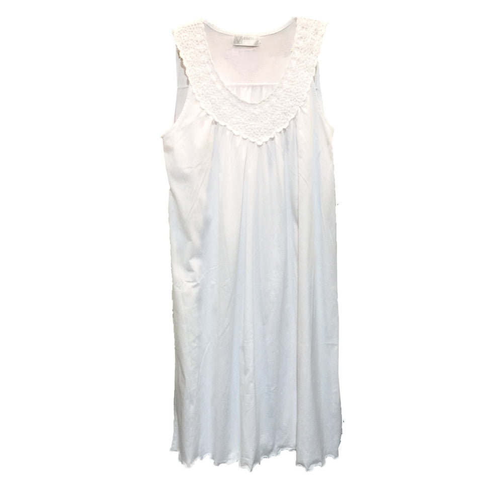 "Victoriana ""Jodie"" Jersey Cotton Sleeveless White Nightdress"