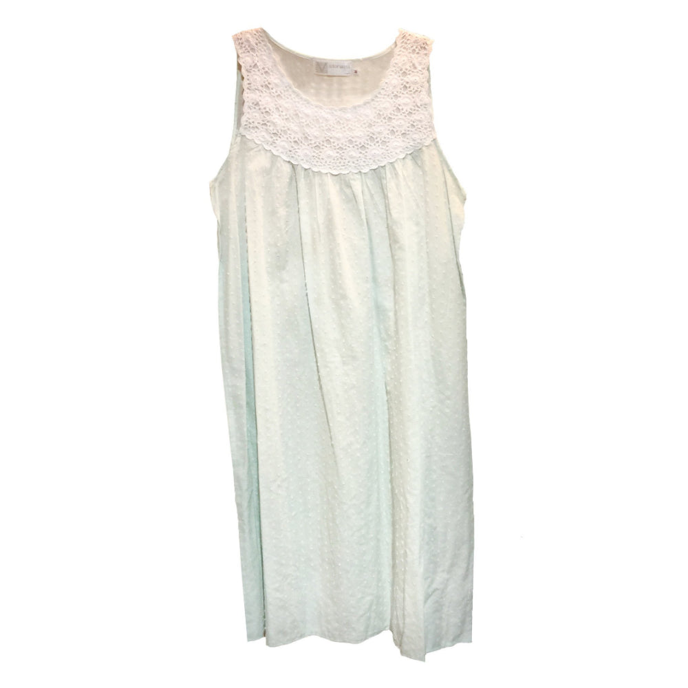 "Victoriana ""Chelsea"" Mint Green Swiss Dot Nightgown, VI-Victoriana Imports, Putti Fine Furnishings"