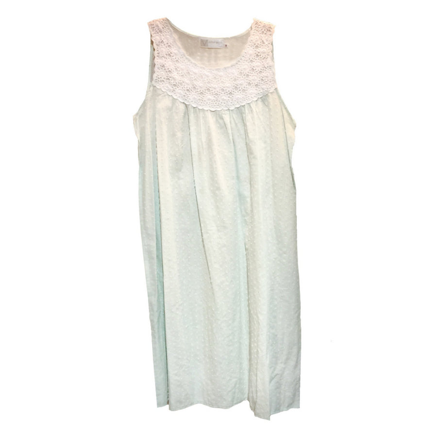 "Victoriana ""Chelsea"" Mint Green Swiss Dot Nightgown"