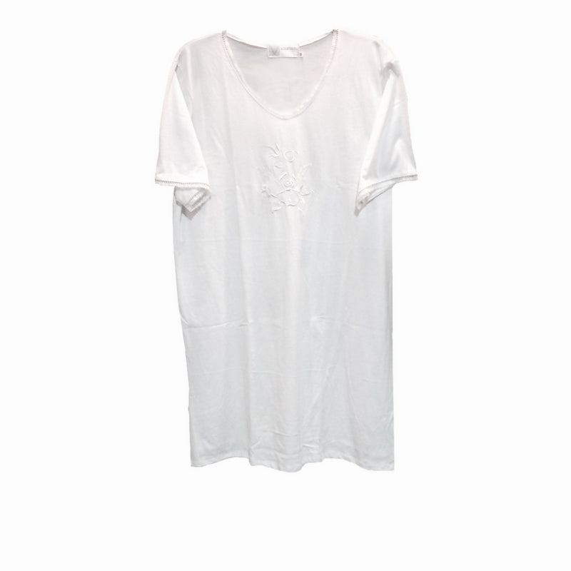 "Victoriana ""Betty"" White Cotton Jersey Sleep T Shirt, VI-Victoriana Imports, Putti Fine Furnishings"