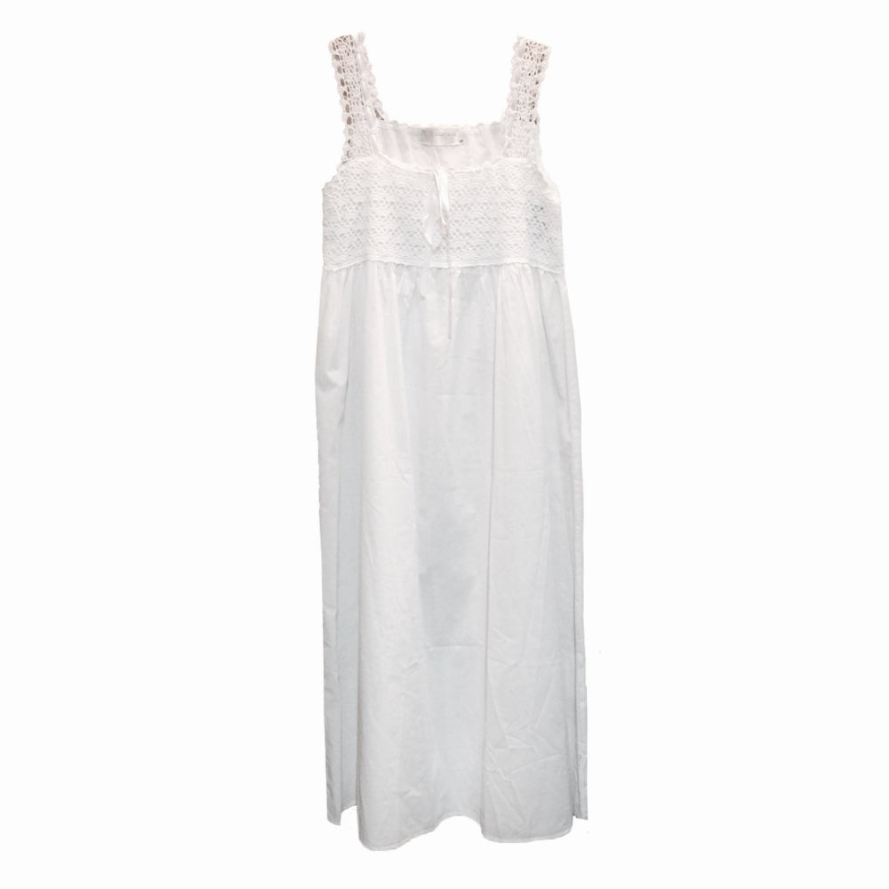"Victoriana ""Laura"" Crochet Bodice White Nightgown"