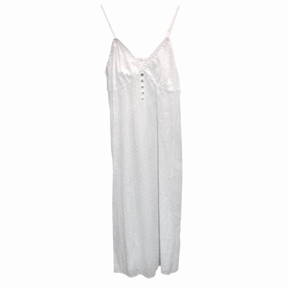 "Victoriana ""Zoe"" Swiss Dot Spaghetti Strap White Nightgown"