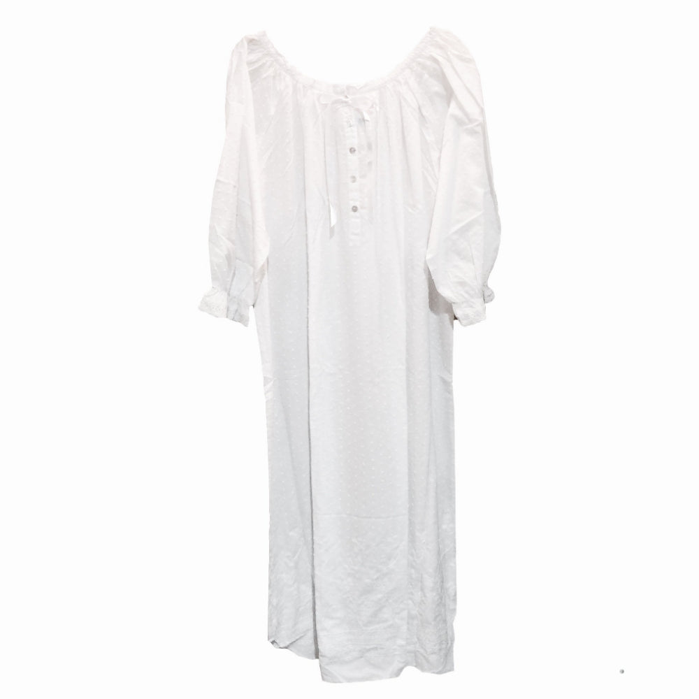 "Victoriana"" Lucia"" Dotted Swiss Long Sleeve White Nightgown"