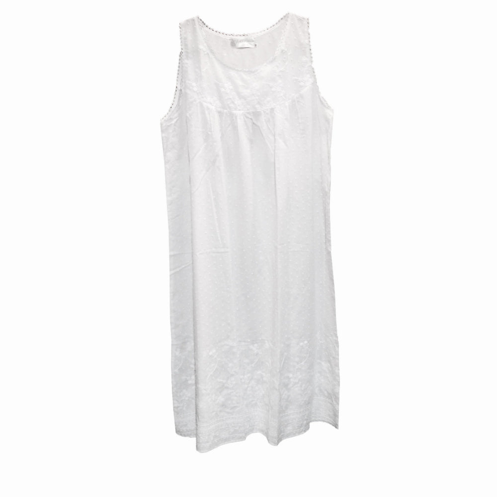 "Victoriana ""Emma"" Embroidered Bodice White Sleeveless Nightgown"