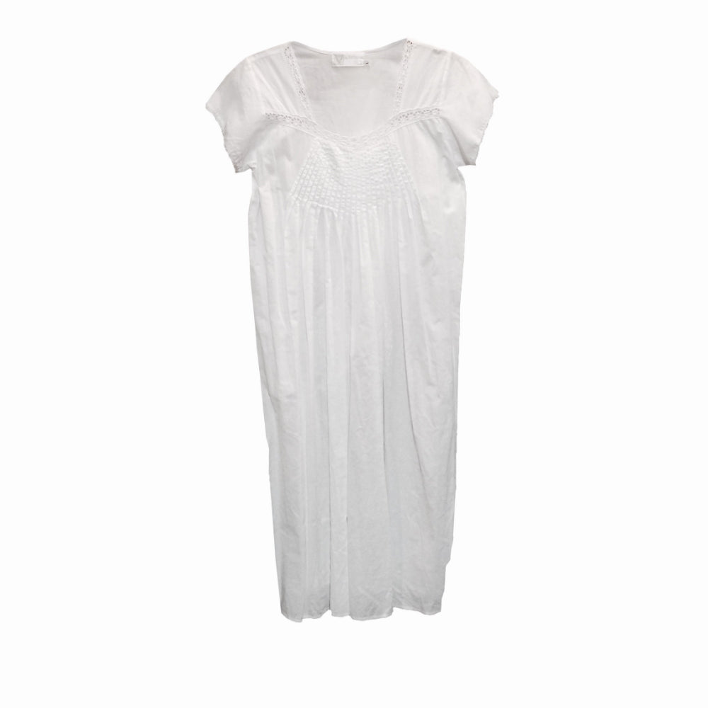 "Victoriana ""Melanie"" Cotton Cap Sleeveless White Nightdress"