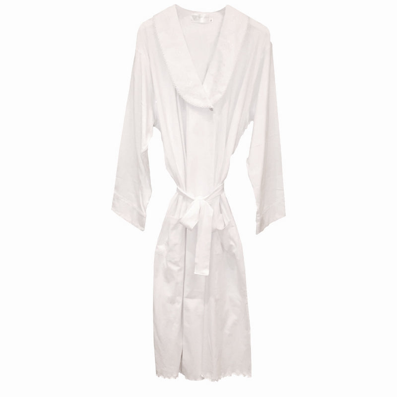 "Victoriana ""Eleanor"" White Jersey Cotton Knit House Coat"