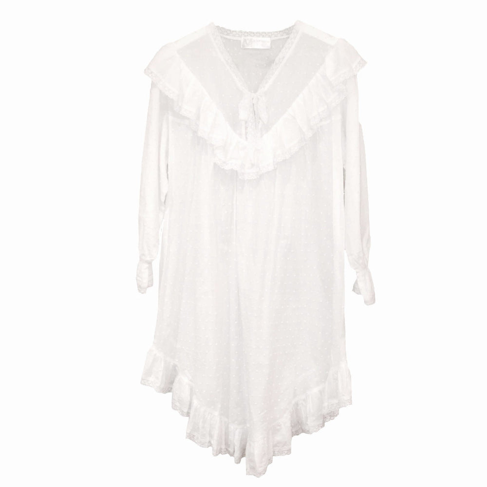"Victoriana ""Rachel"" Swiss Dot Ruffled White Night Shirt"
