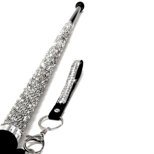 """Sugar Cane"" Adjustable Aluminum Silver Crystal Cane - Putti Fine Fashions"