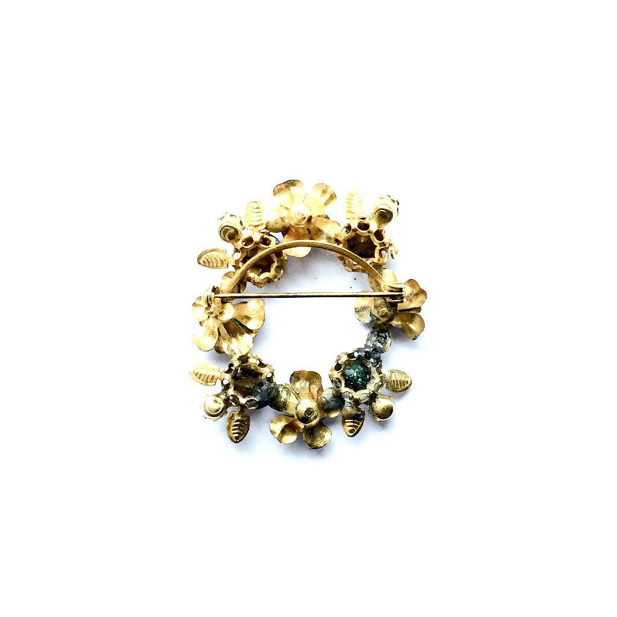 Vintage Crystal and Enamel Wreath Brooch