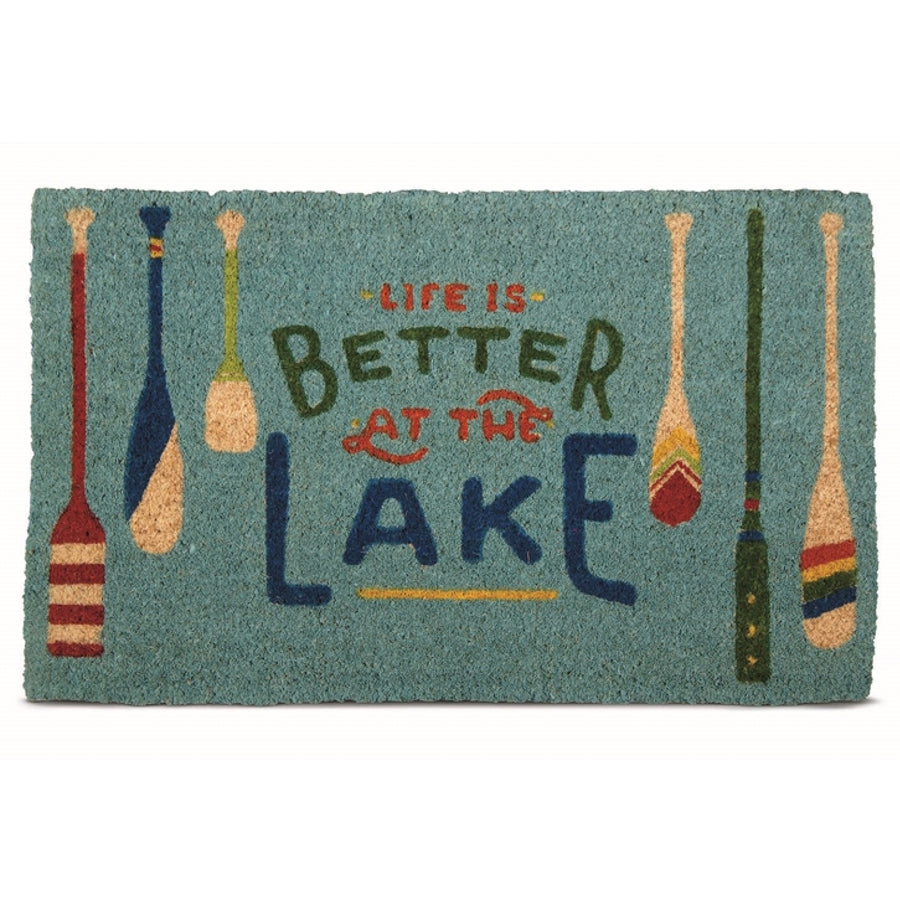 """Life is Better at the Lake"" Coir Doormat"
