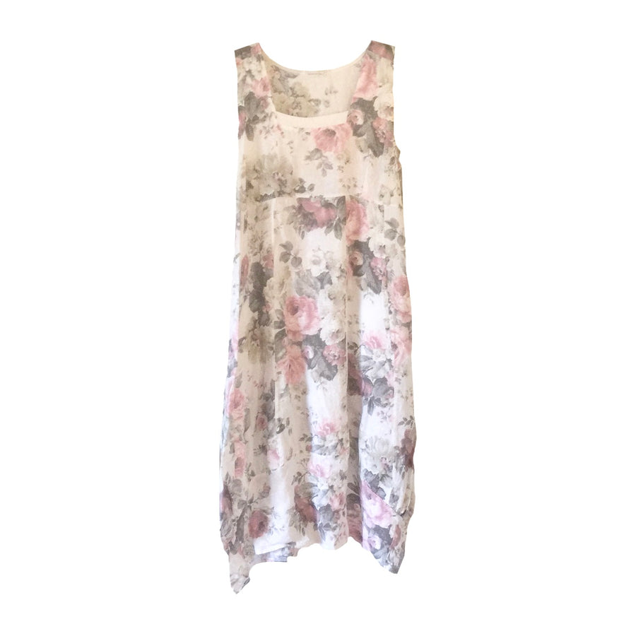 White Floral Sleeveless Linen Dress, TO-Terminal One, Putti Fine Furnishings