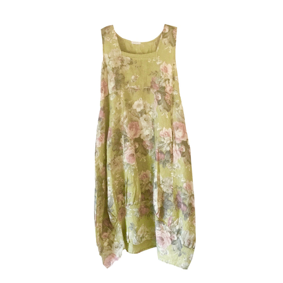 Lime Green Floral Sleeveless Linen Dress, TO-Terminal One, Putti Fine Furnishings