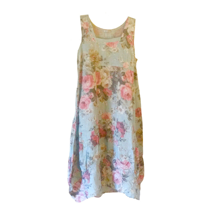 Pale Blue Floral Sleeveless Linen Dress, TO-Terminal One, Putti Fine Furnishings