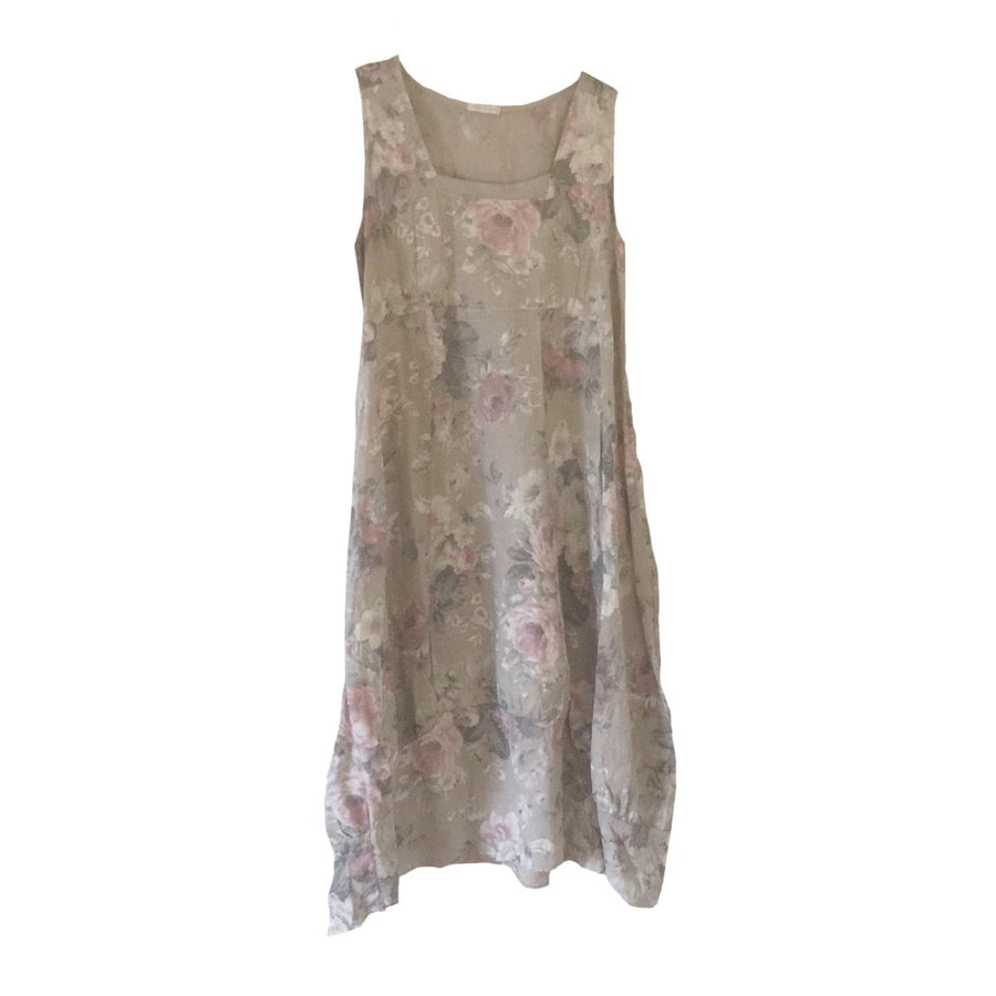 Stone Floral Sleeveless Linen Dress