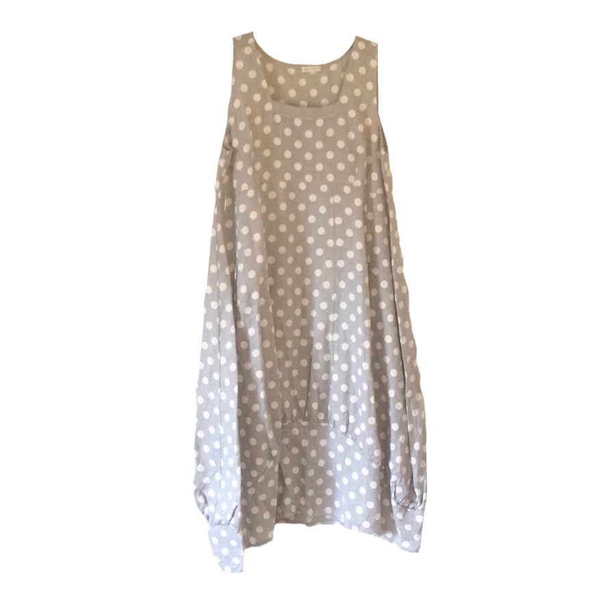 White Spots on Grey Sleeveless Linen Dress, TO-Terminal One, Putti Fine Furnishings