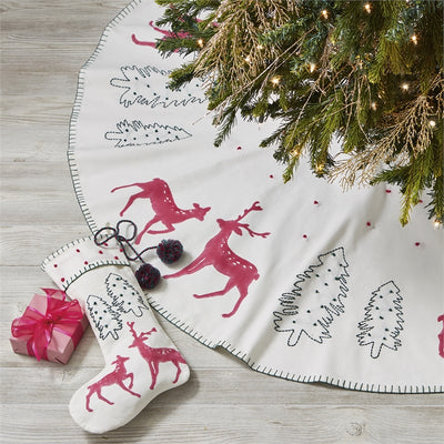 Joyful Tree and Reindeer Christmas Stocking