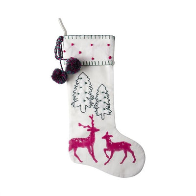 Joyful Tree and Reindeer Christmas Stocking | Putti Christmas Canada