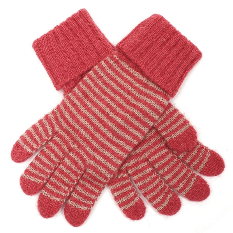 Striped Knit Gloves - Coral Pink | Putti Fine Fashions Canada