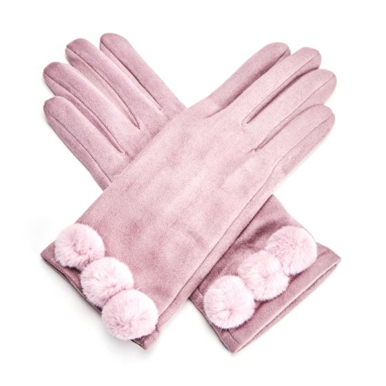 Ultra Suede Gloves with Pom Poms - Dusky Purple | Putti Fine Fashions