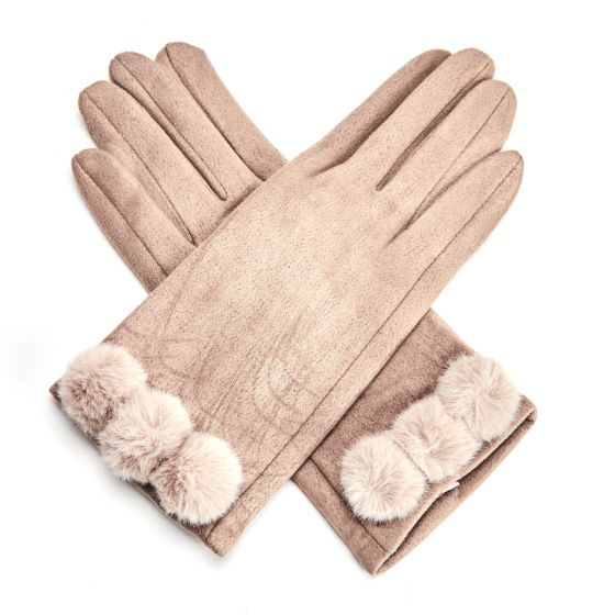 Ultra Suede Gloves with Pom Poms - Tan