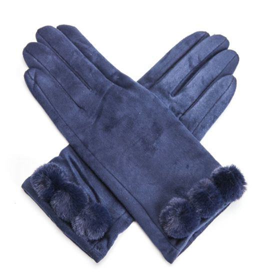 Ultra Suede Gloves with Pom Poms - Navy | Putti Fine Fashions