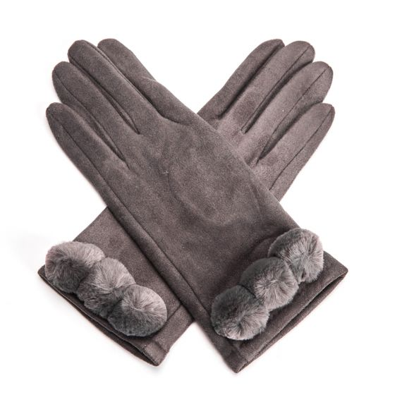 Ultra Suede Gloves with Pom Poms - Grey