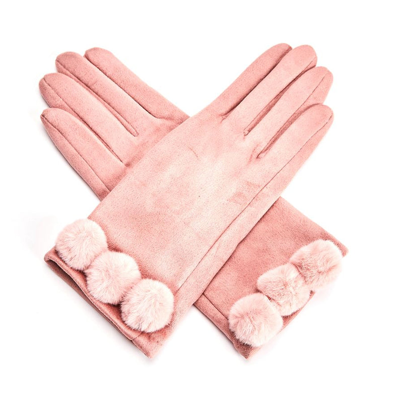 Ultra Suede Gloves with Pom Poms - Pink  | Putti Fine Fashions