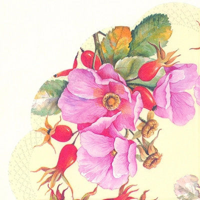 Wild Rose Round Paper Napkin - Lunch