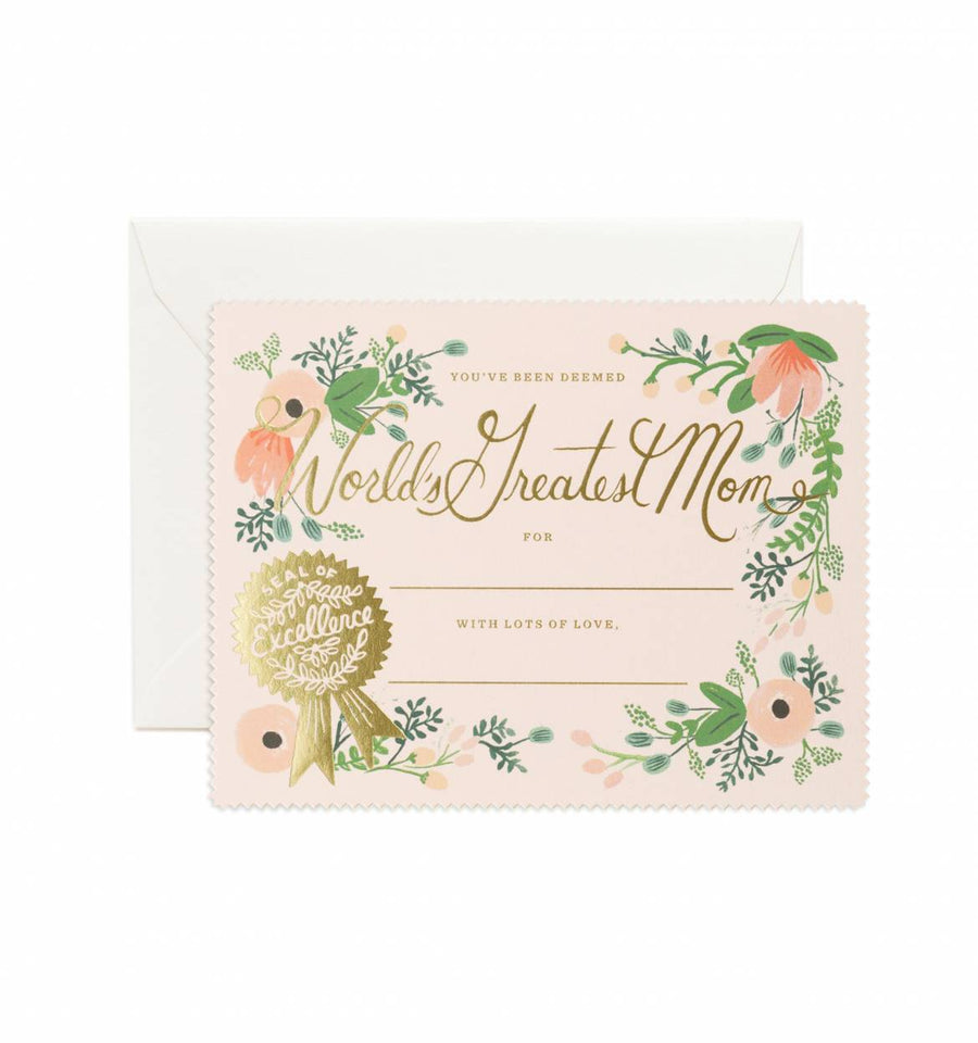 "Rifle Paper Co. ""Greatest Mom"" Certificate Card"