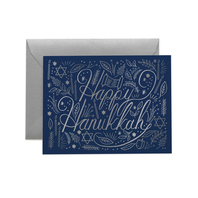 "Rifle Paper Co. Silver ""Happy Hanukkah"" Boxed Cards 