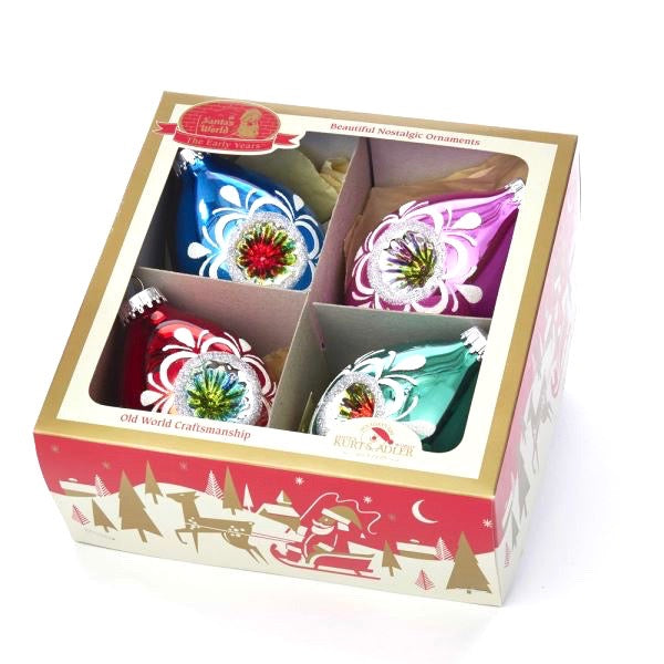 Early Years Glass Multi-Color Reflector Double Point  Ornaments, 4-Piece Box Set | Putti Christmas